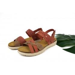 sandalia de piel en tonos rosas para mujer con cierre de velcro y planta bio